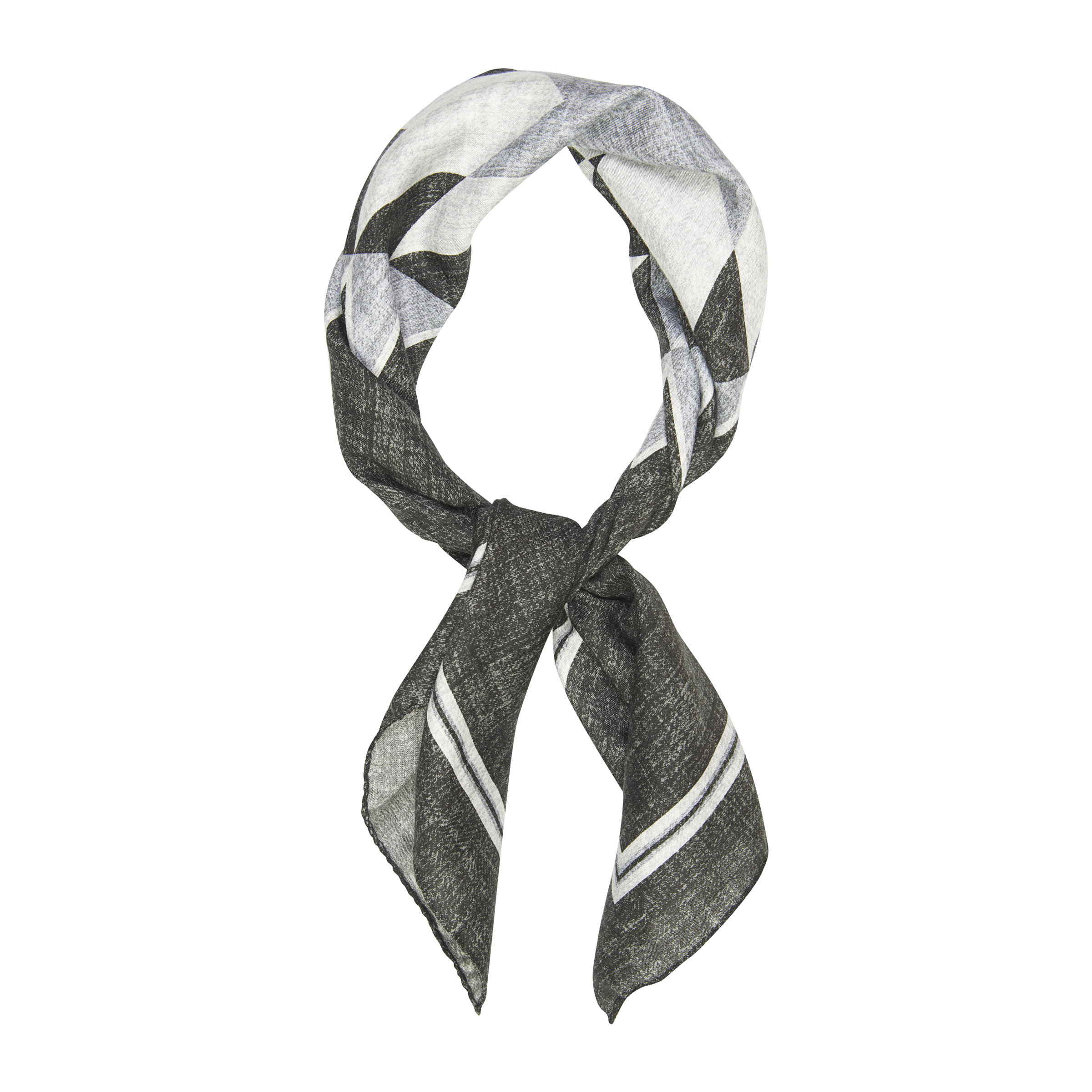 Charcoal and White Bold Pattern Scarf