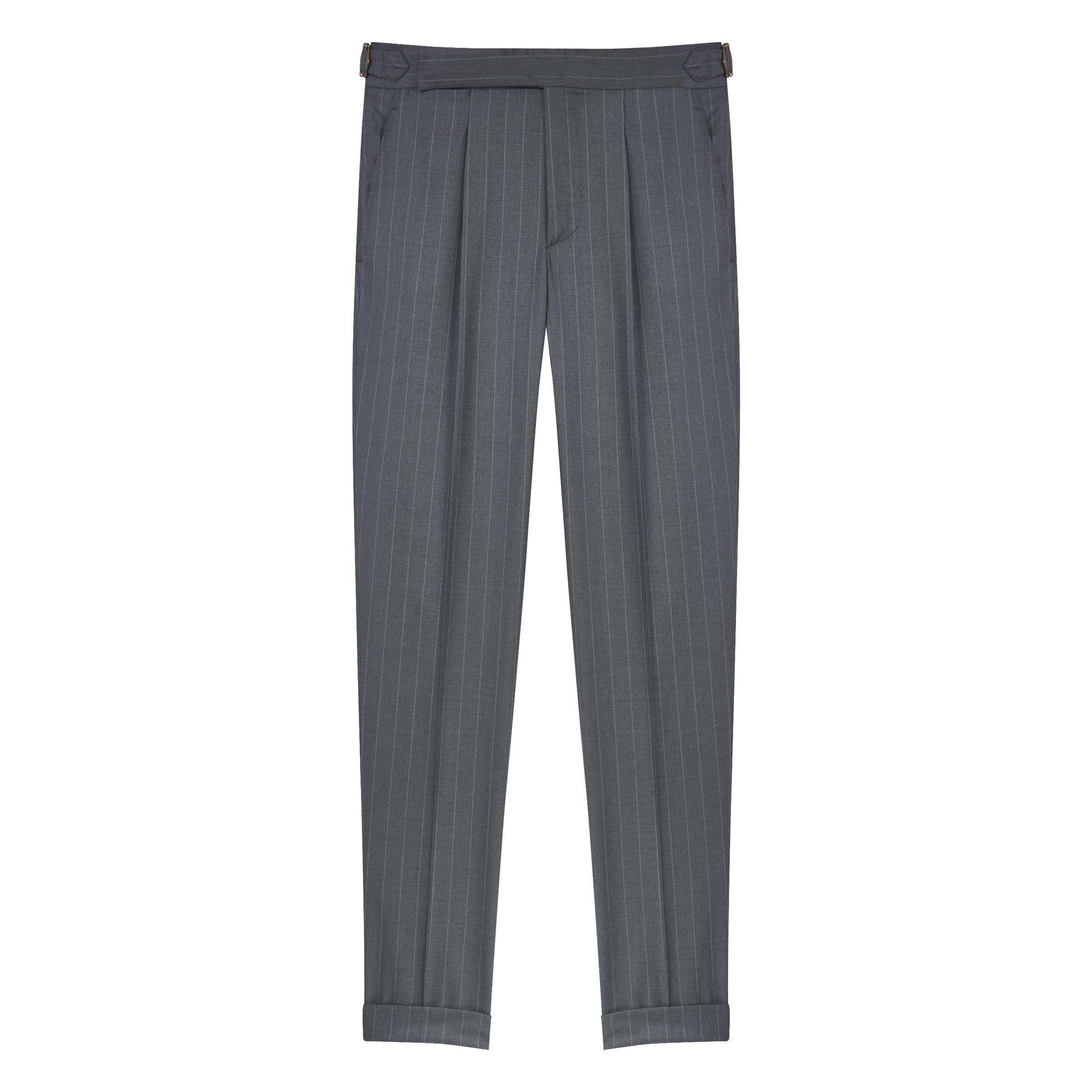 Grey Wool Pinstripe Super 170's Trousers