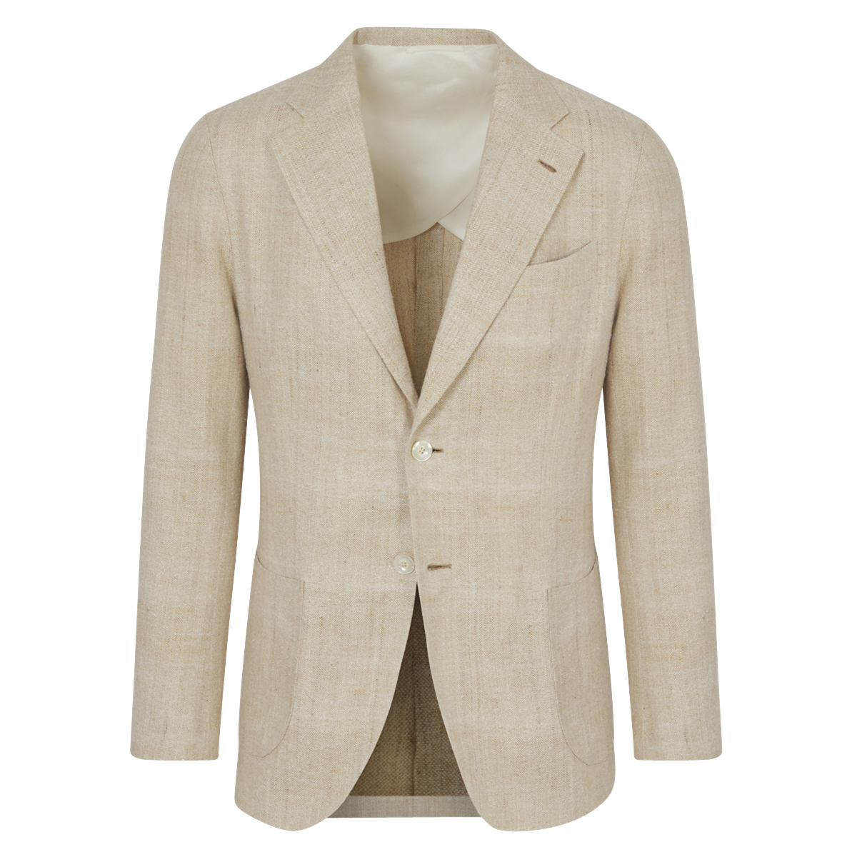 Beige Raw Silk 'Resort Leisure' Single-Breasted Jacket