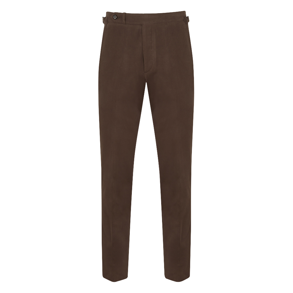 Chocolate Brown Brushed Cotton 'Weekend' Chinos
