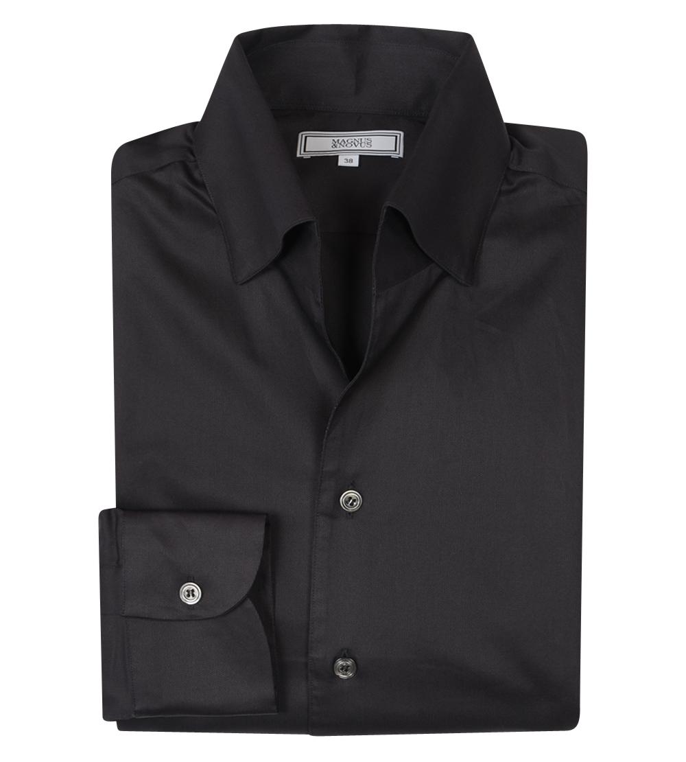 Black Cotton Sheen 'Events Leisure' Shirt