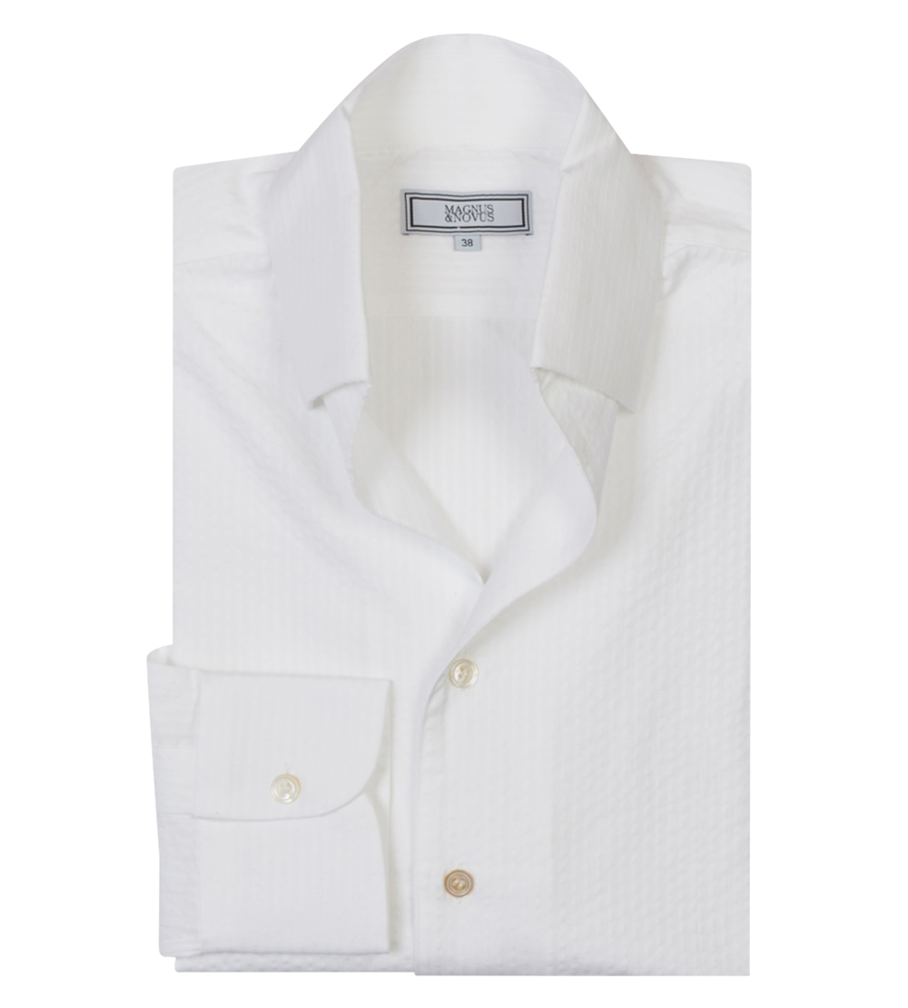 White Seersucker Cotton 'Weekend Leisure' Shirt