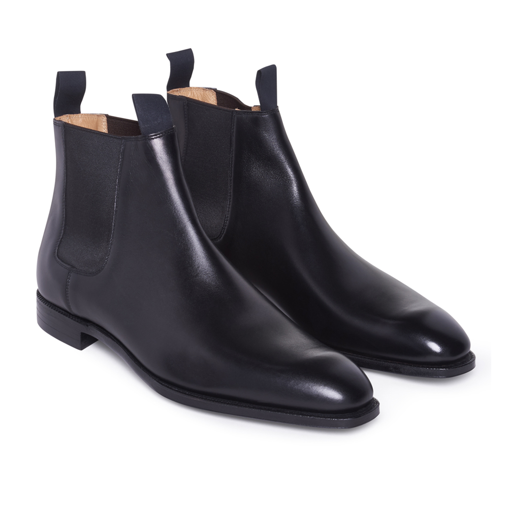 Black Calf Leather Robert Chelsea Boots