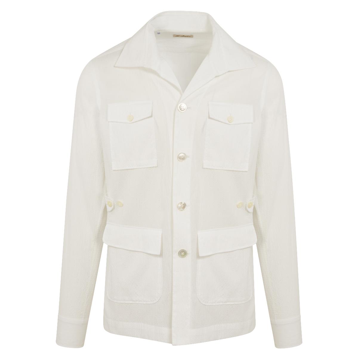 White Seersucker Cotton Safari Over-Shirt