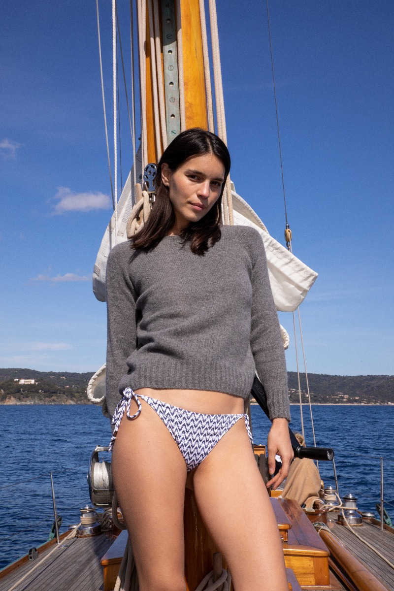 AK MC pure summer Cashmere Grey Ladies Crewneck Sweater