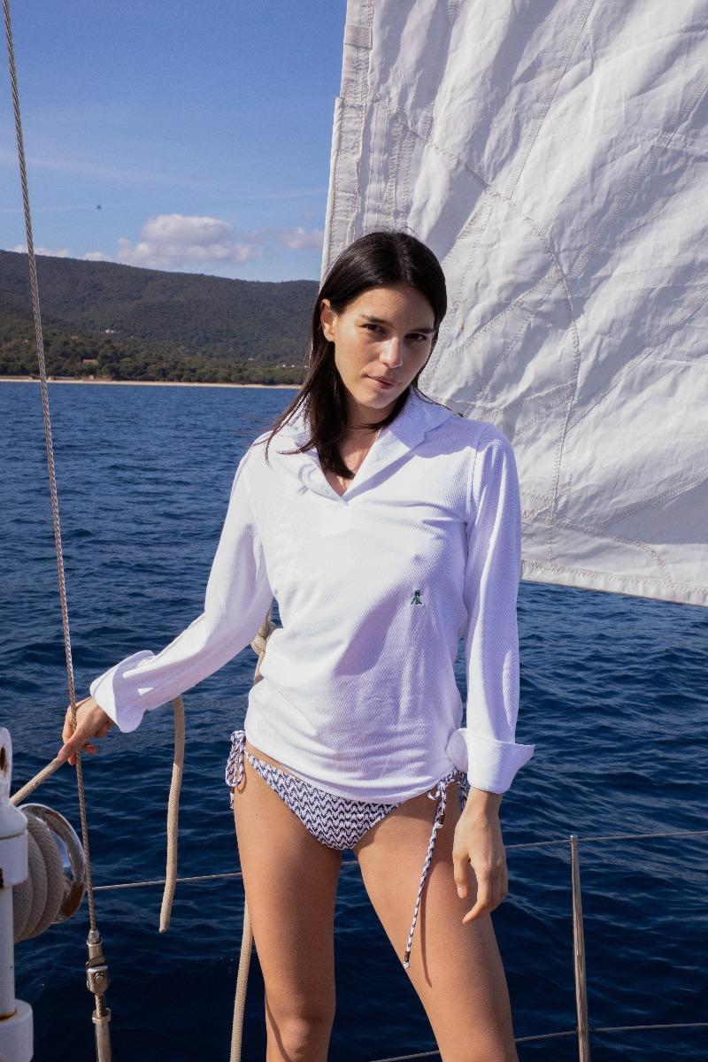 AK MC White Cotton Pique Ladies Long-Sleeved Polo Shirt