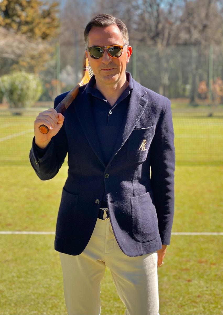 AK MC Navy Cotton Fleece Deconstructed Tennis Blazer