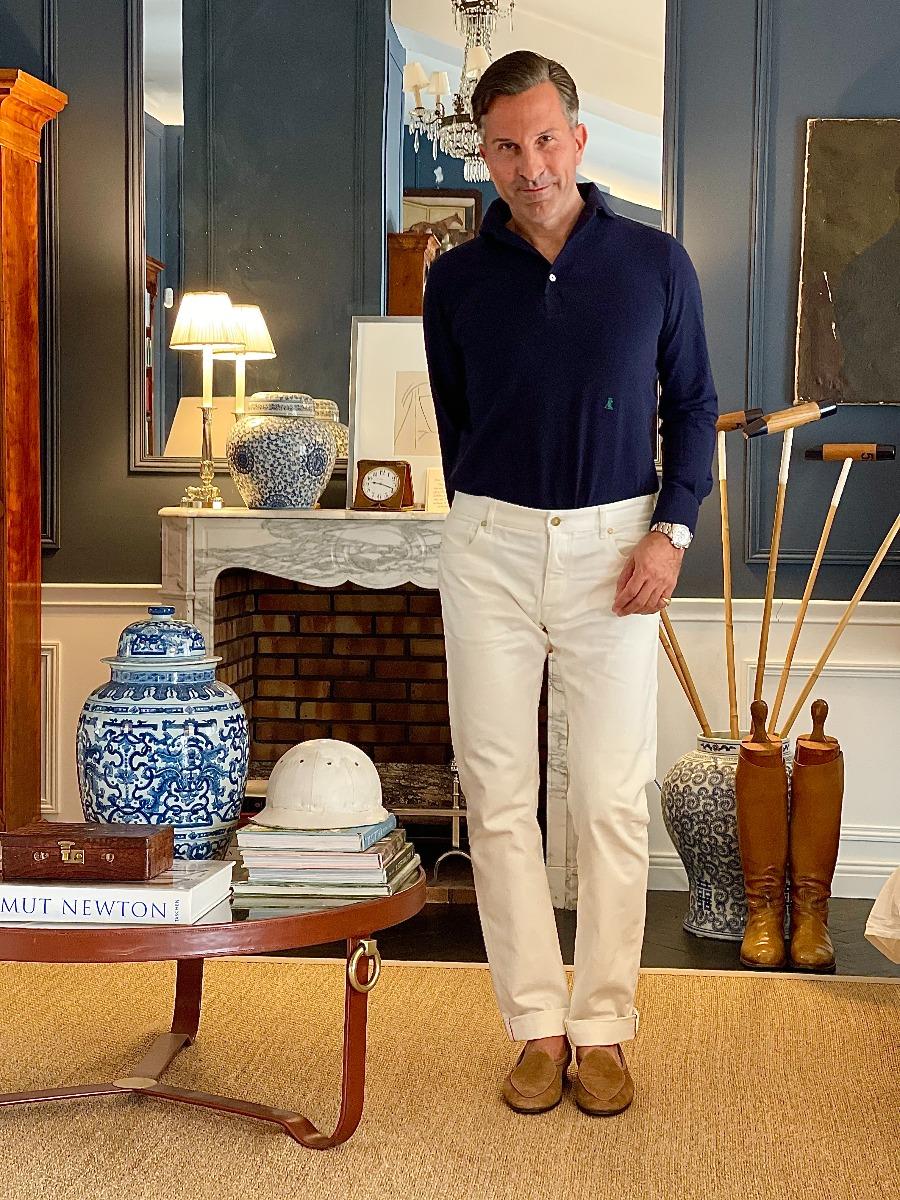 AK MC Polo Player White Selvedge Jeans