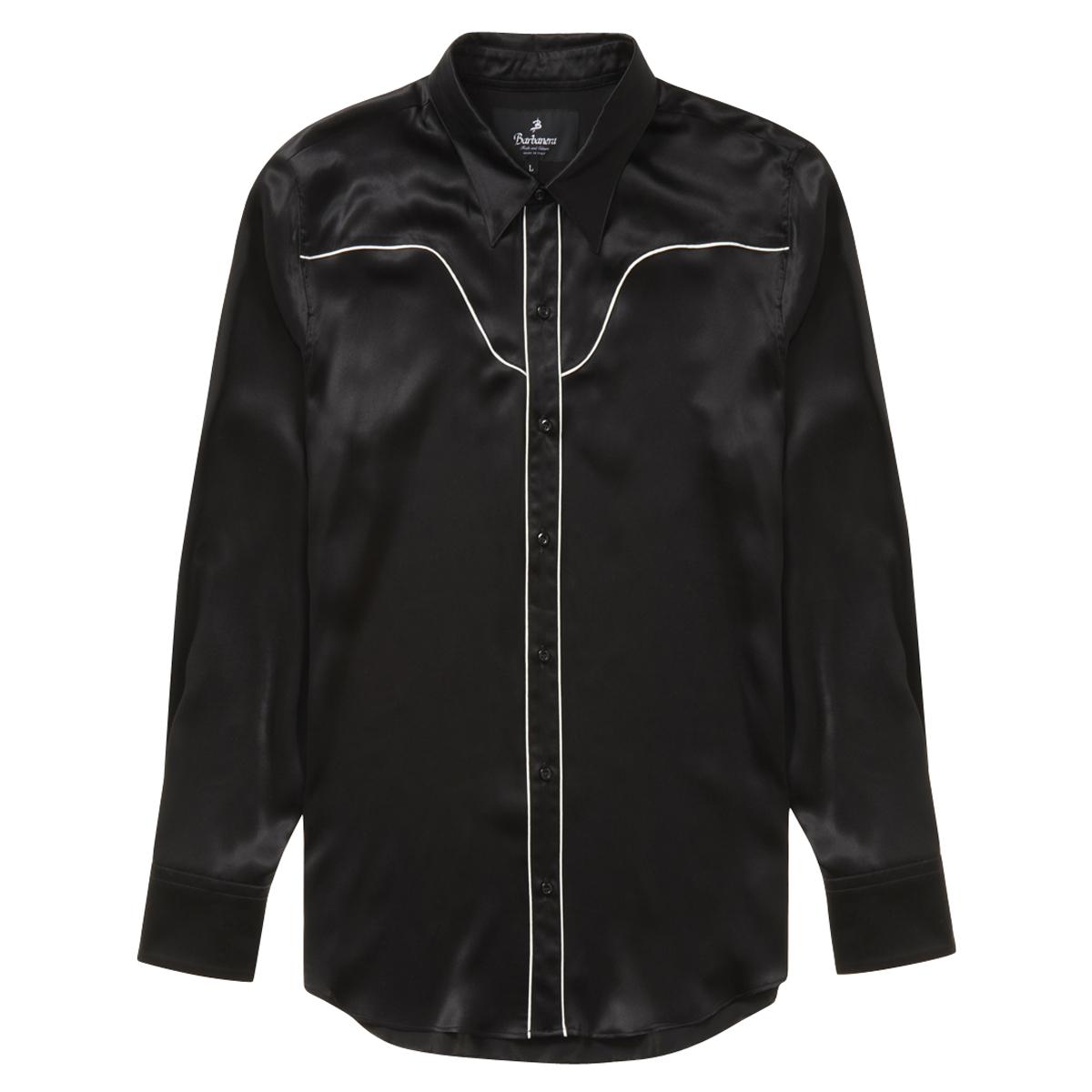 Mustang Black Silk Vintage-Inspired Western Shirt