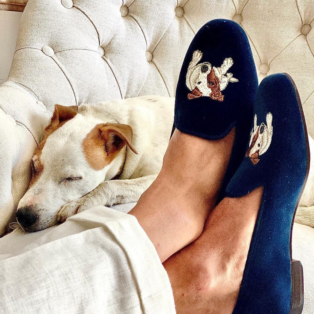 Dark Blue Embroidered Velvet Slippers - Bertie Portrait