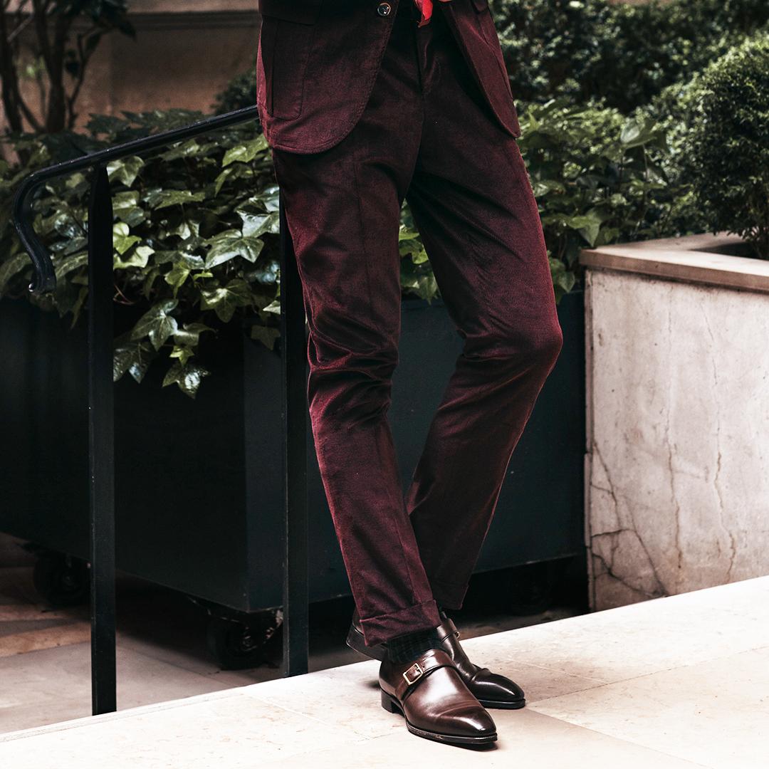Burgundy Corduroy Sport Trousers