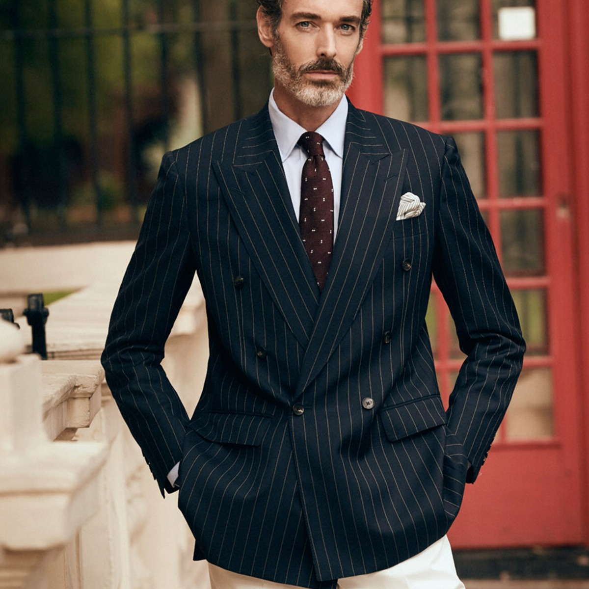 Navy Pinstripe Double-Breasted Jacket