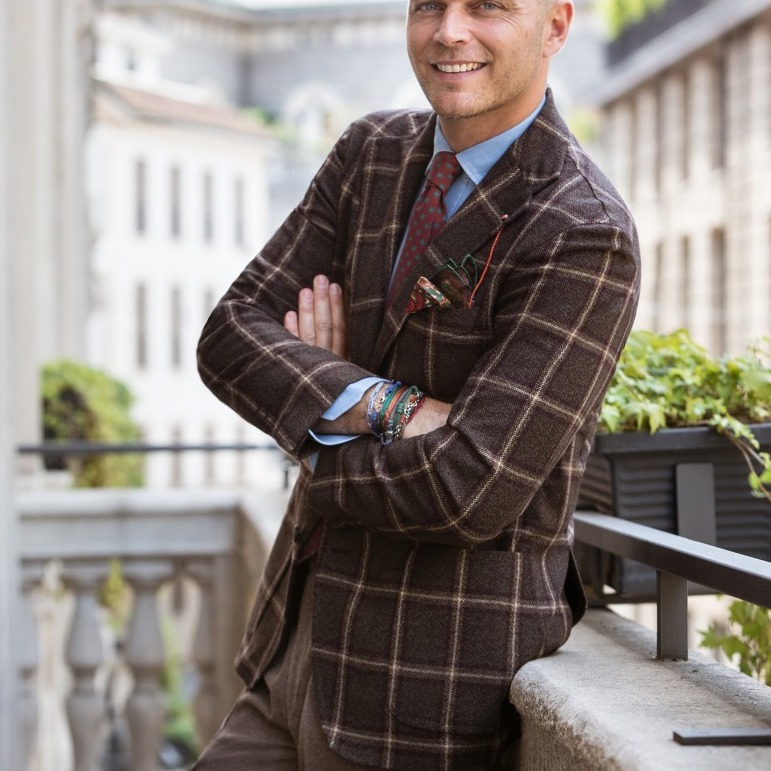 BROWN AND BORDEAUX CASHMERE CHECK SINGLE-BREASTED JACKET
