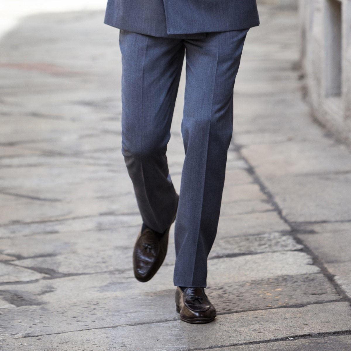 Denim Blue Worsted Wool Genny Suit Trousers
