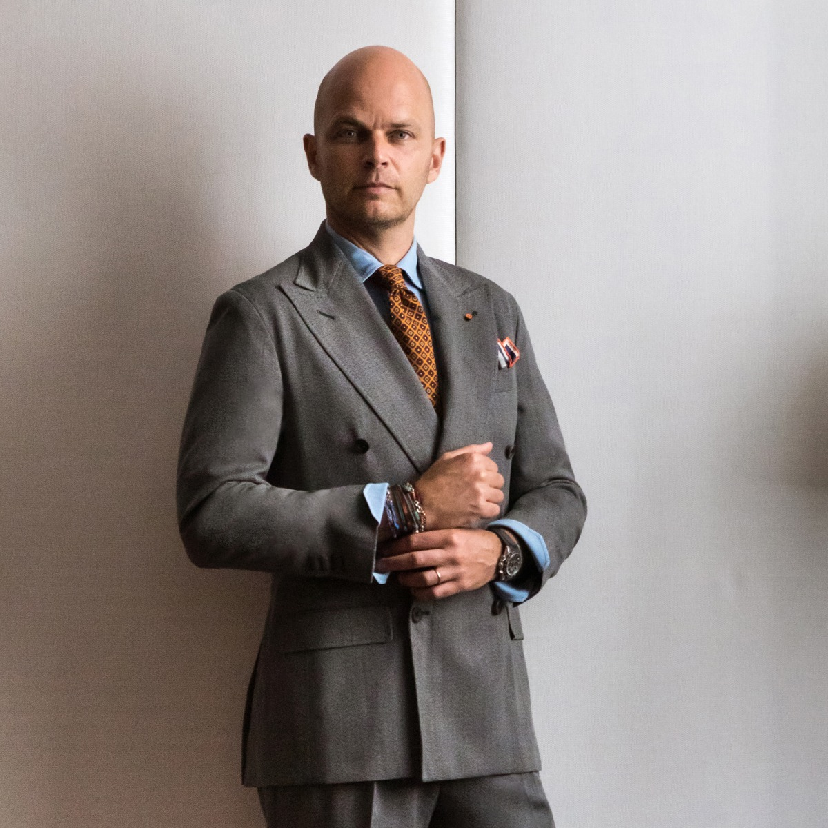 Grey Wool Double-Breasted Suit Jacket
