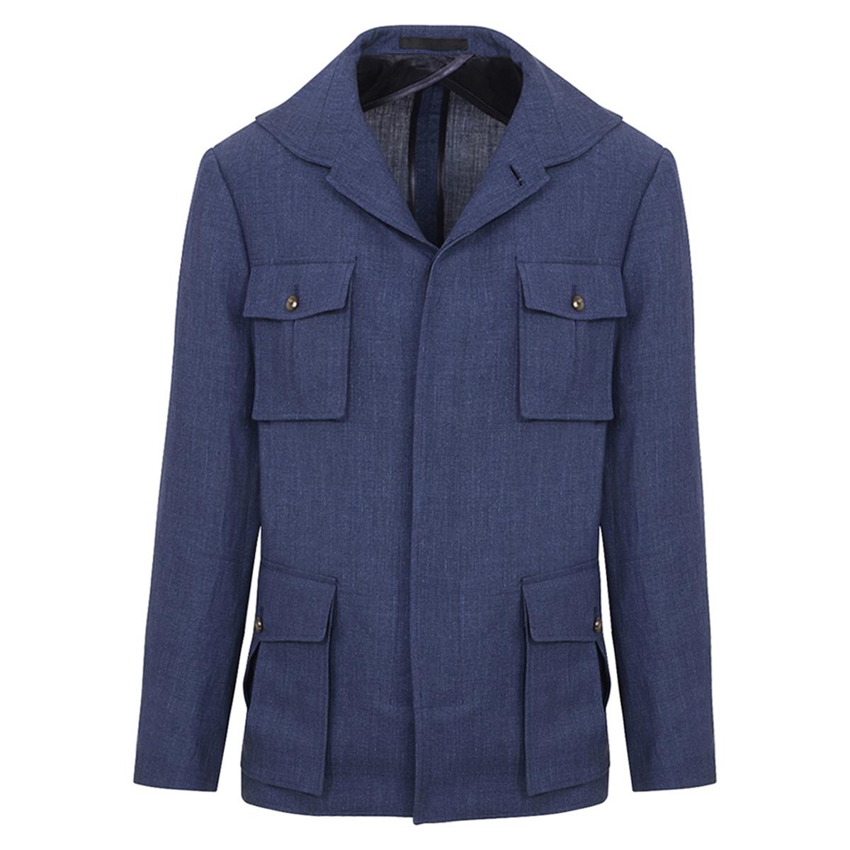 Blue Linen Safari Jacket