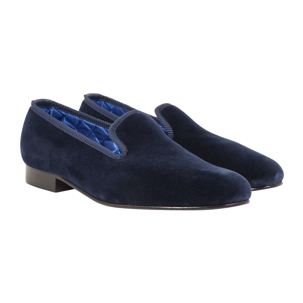 Navy Cotton-Velvet Signature Slippers
