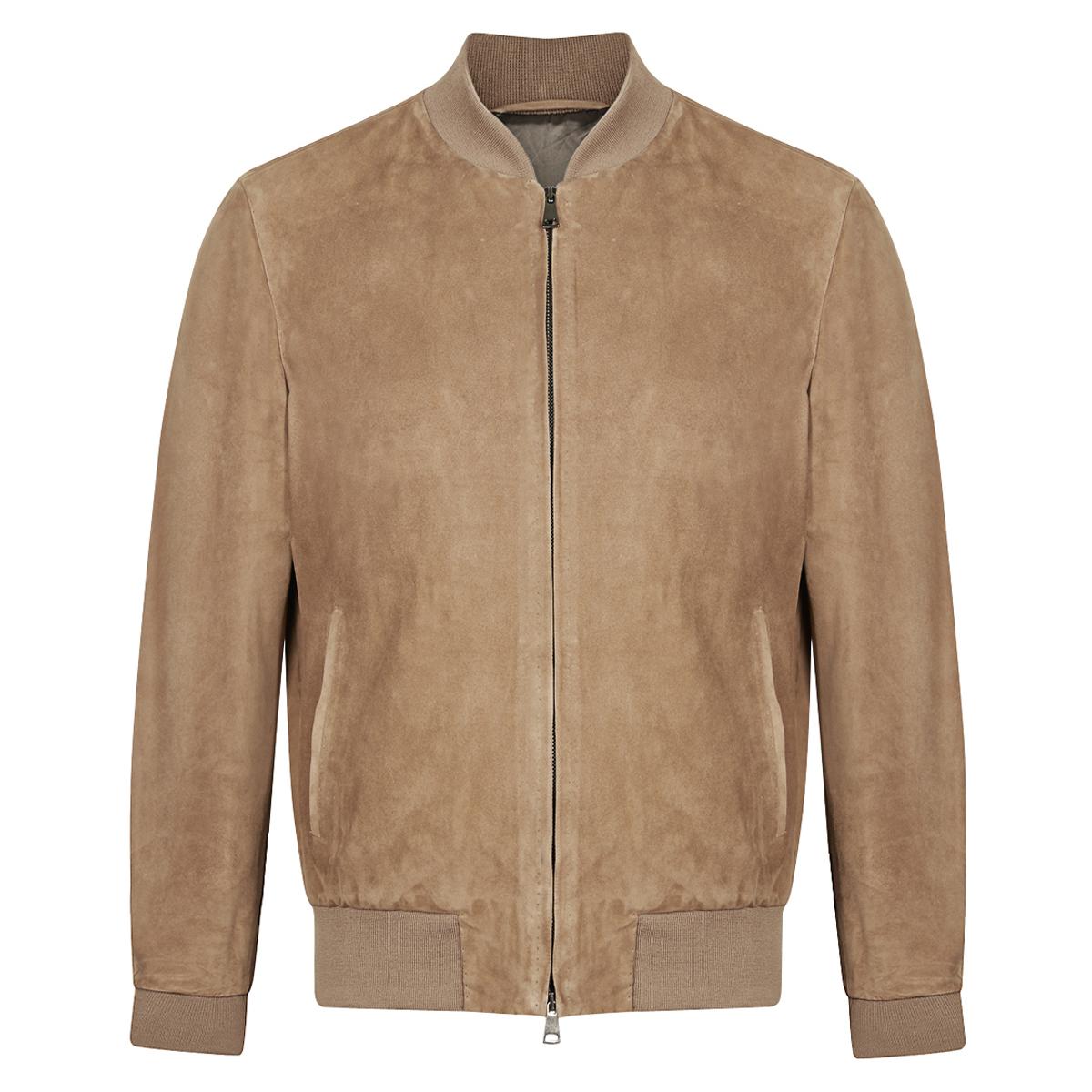 Beige Suede Handmade Classic Bomber Jacket