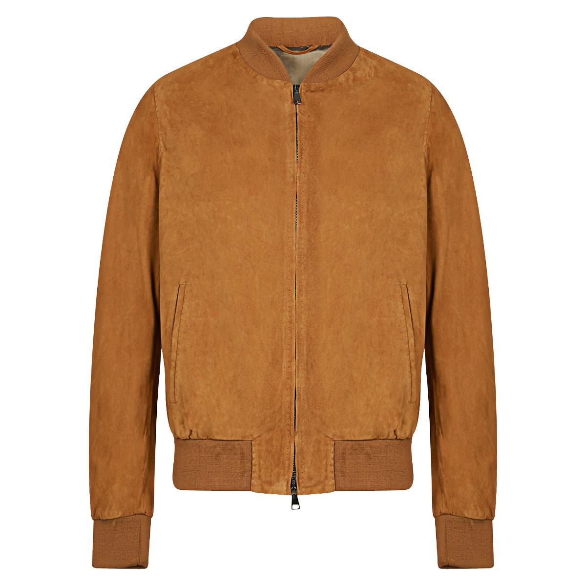 Camel Suede Handmade Classic Bomber Jacket