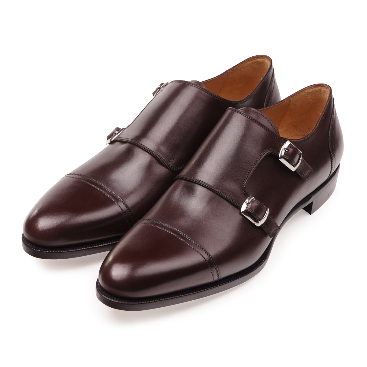 Brown Box Calf Double Monk Straps