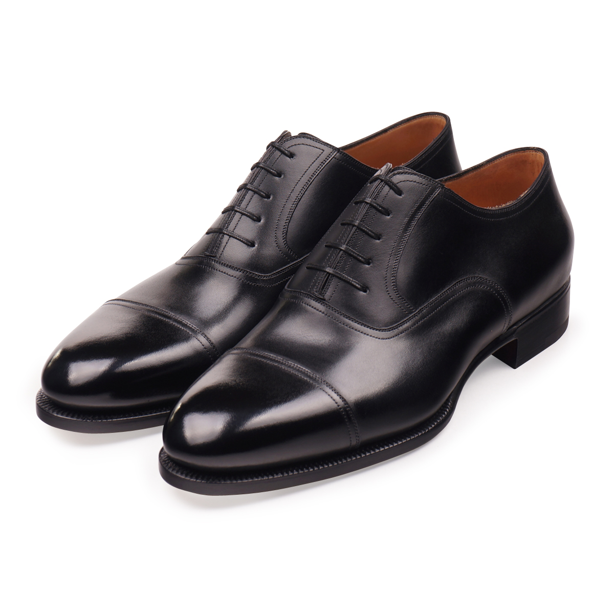 Black French Box Calf Cap Toe Oxfords