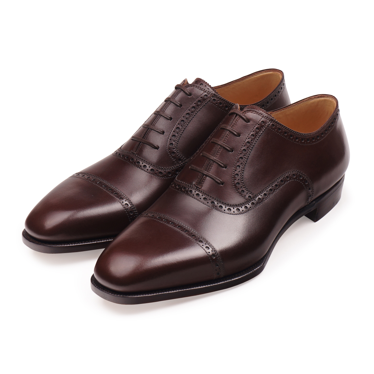 Dark Brown Box Calf Cap Toe Oxfords