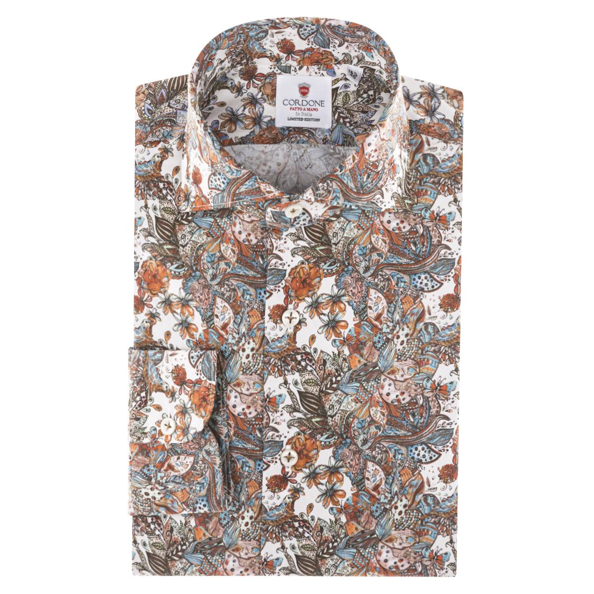 Brown Cotton Butterfly Print Shirt