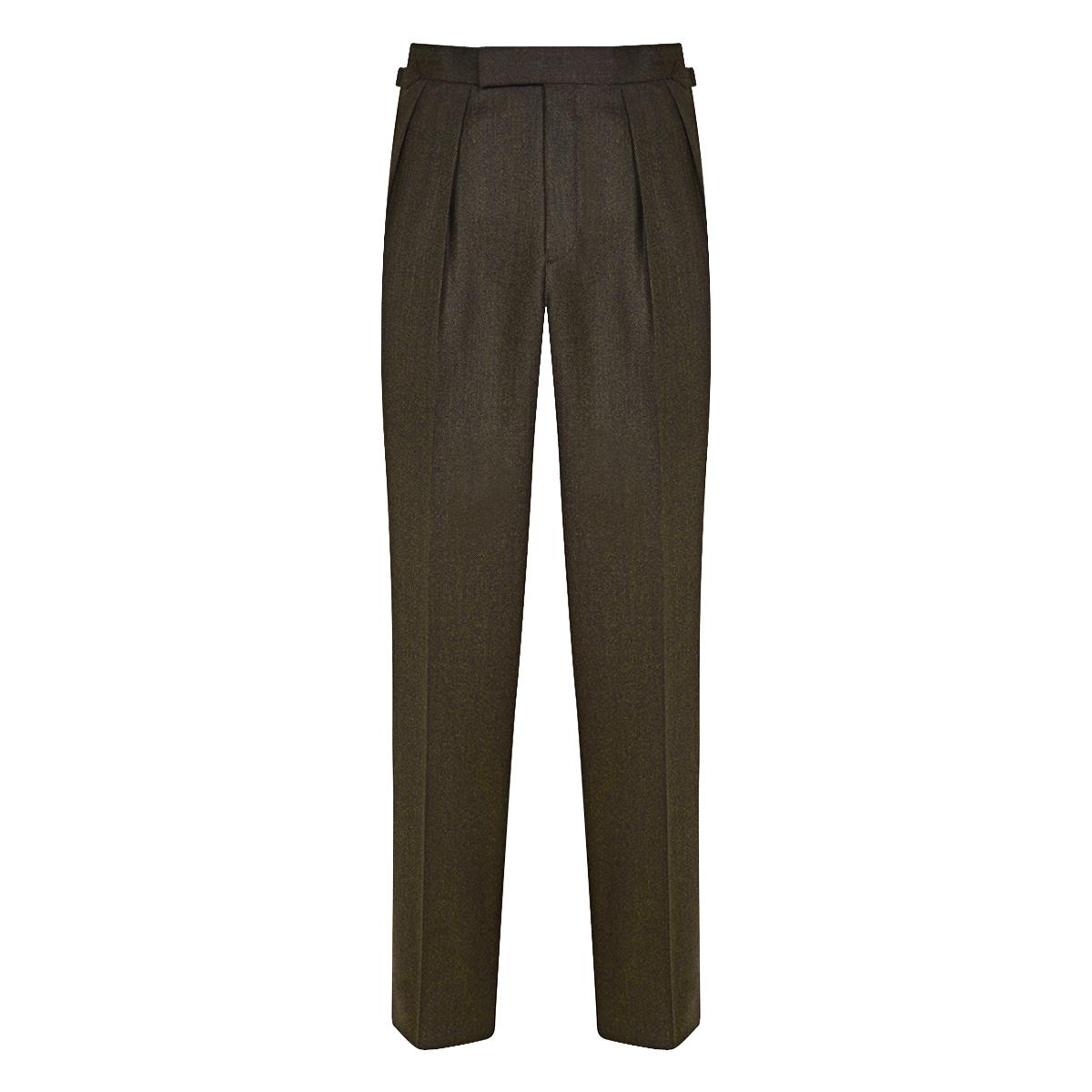 Dark Brown Wool Salt & Pepper Aleksander Pleated Trousers