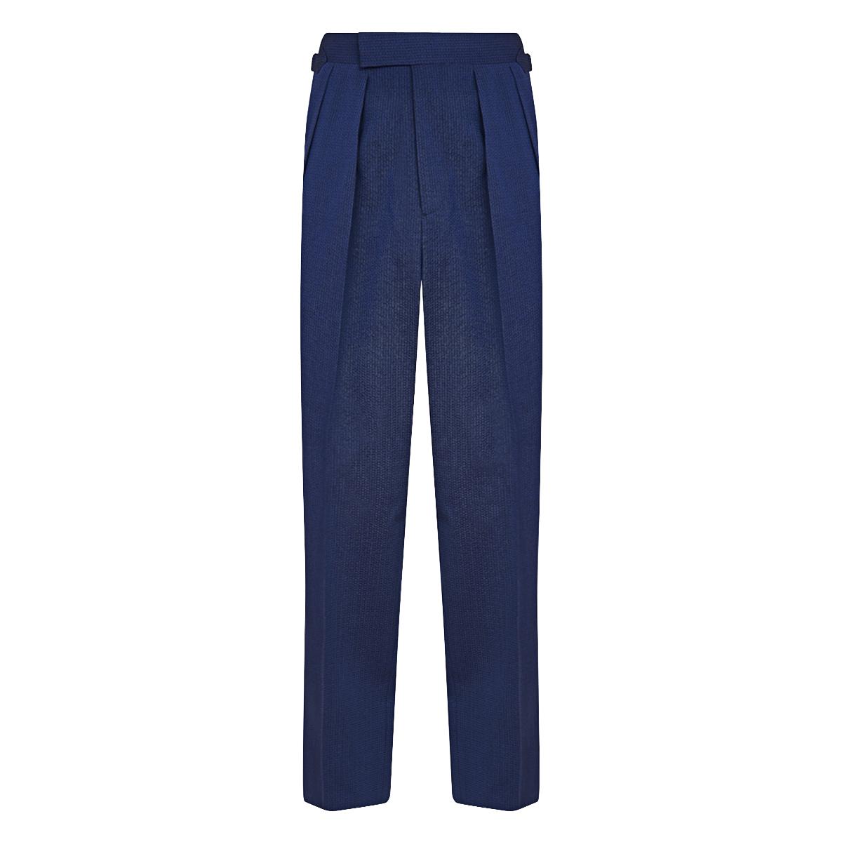 Navy Wool Seersucker Slim Aleks Trousers