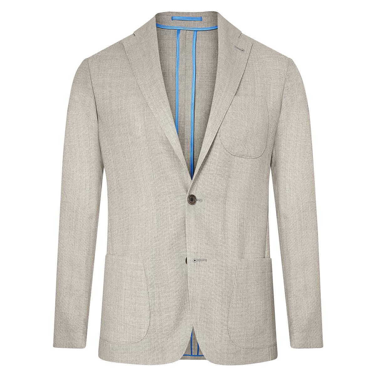 Light Grey Unlined Single-Breasted Patch Pocket Jacket