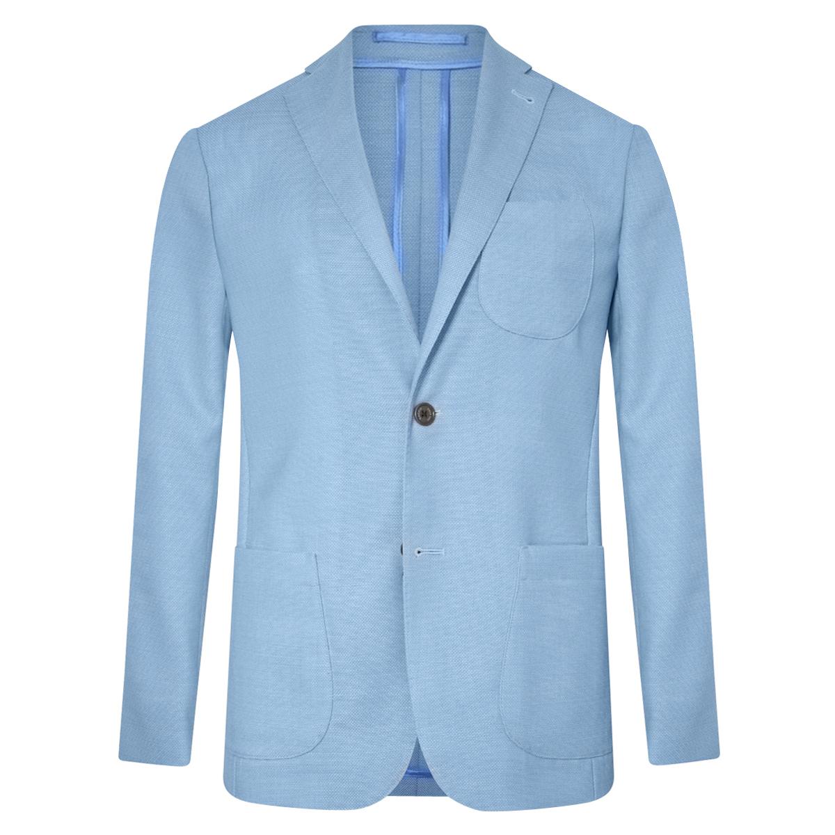 Sky Blue Unlined Single-Breasted Patch Pocket Jacket