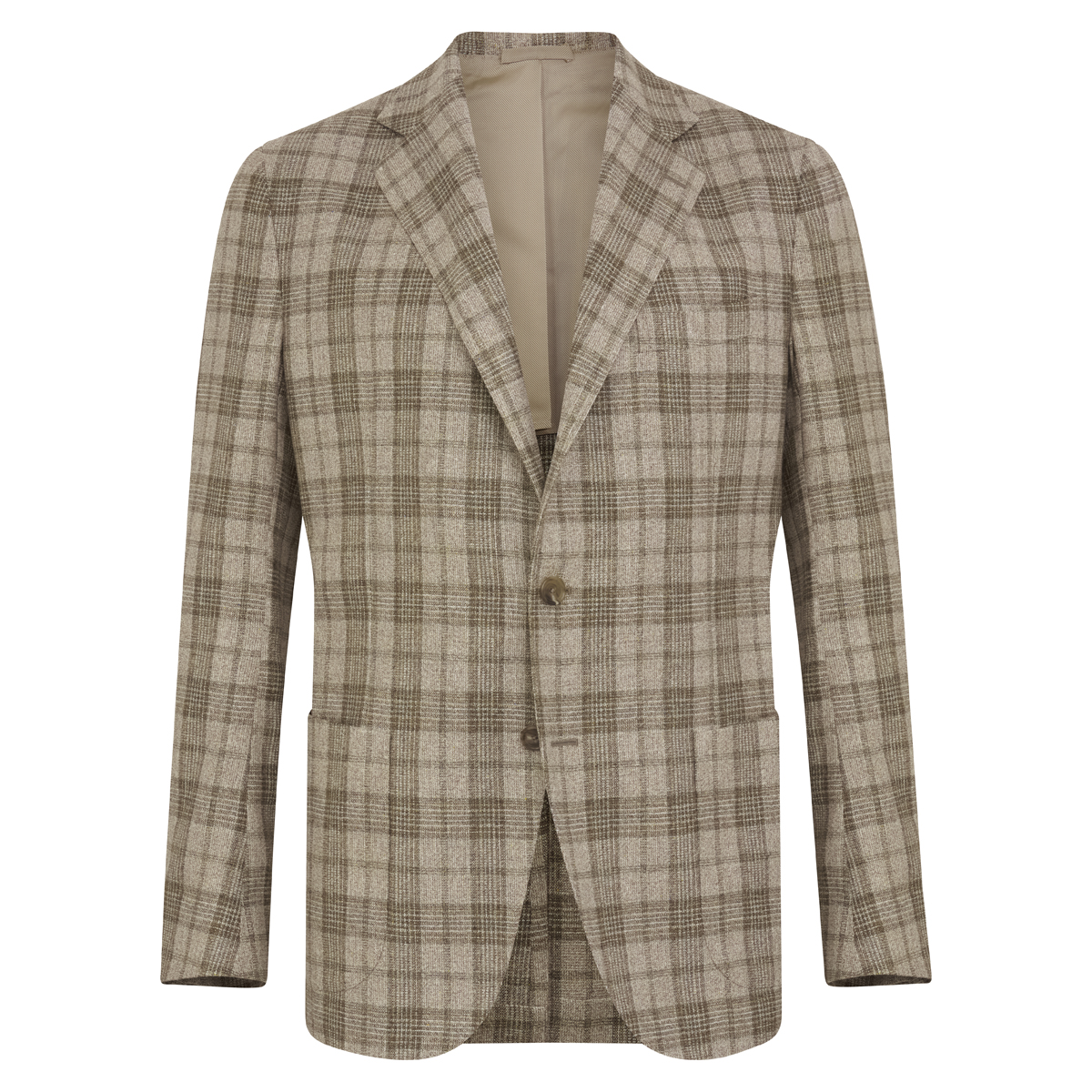 Light Grey & Green Silk-Wool Blend Check Posillipo Jacket