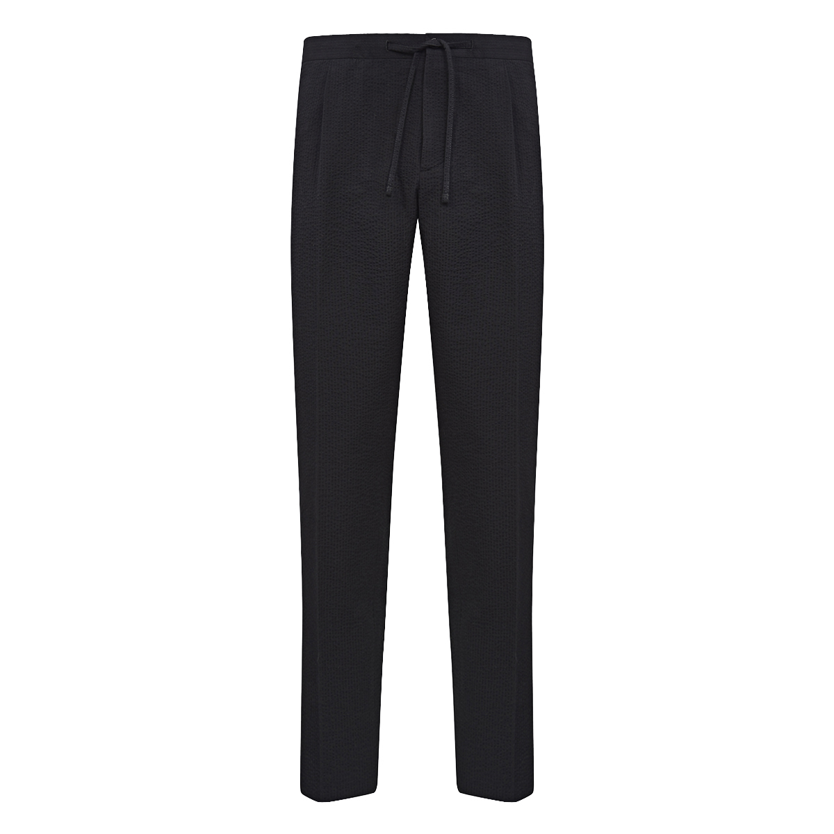 Black Cotton Seersucker Drawstring Trousers