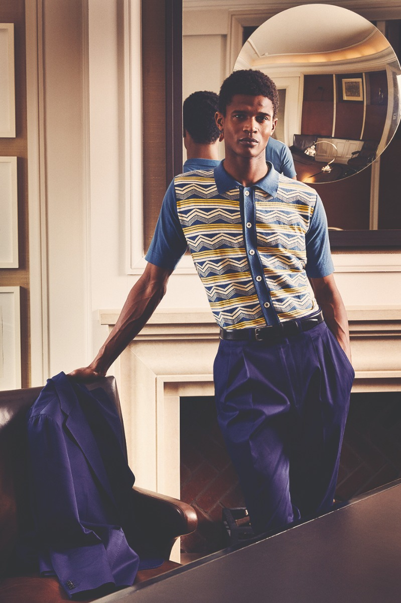 Navy Cotton Drill Pleated Trousers