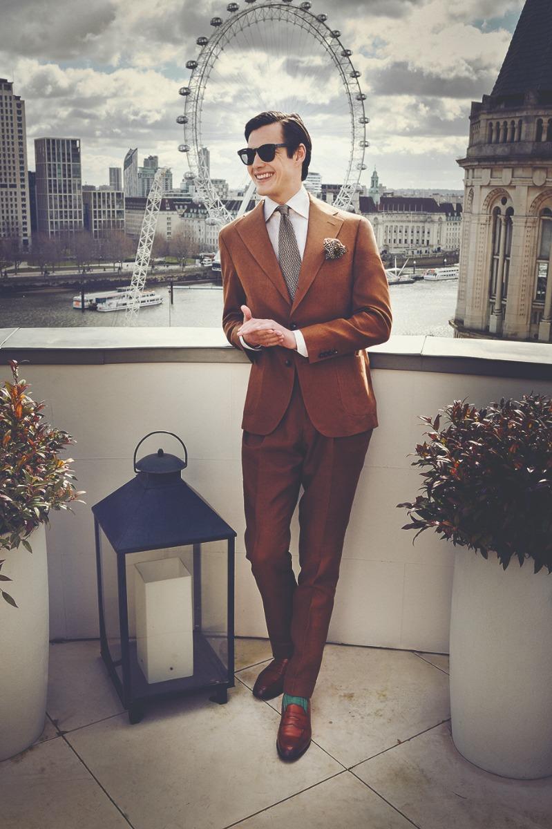 Tobacco Irish Linen Pleated Trousers