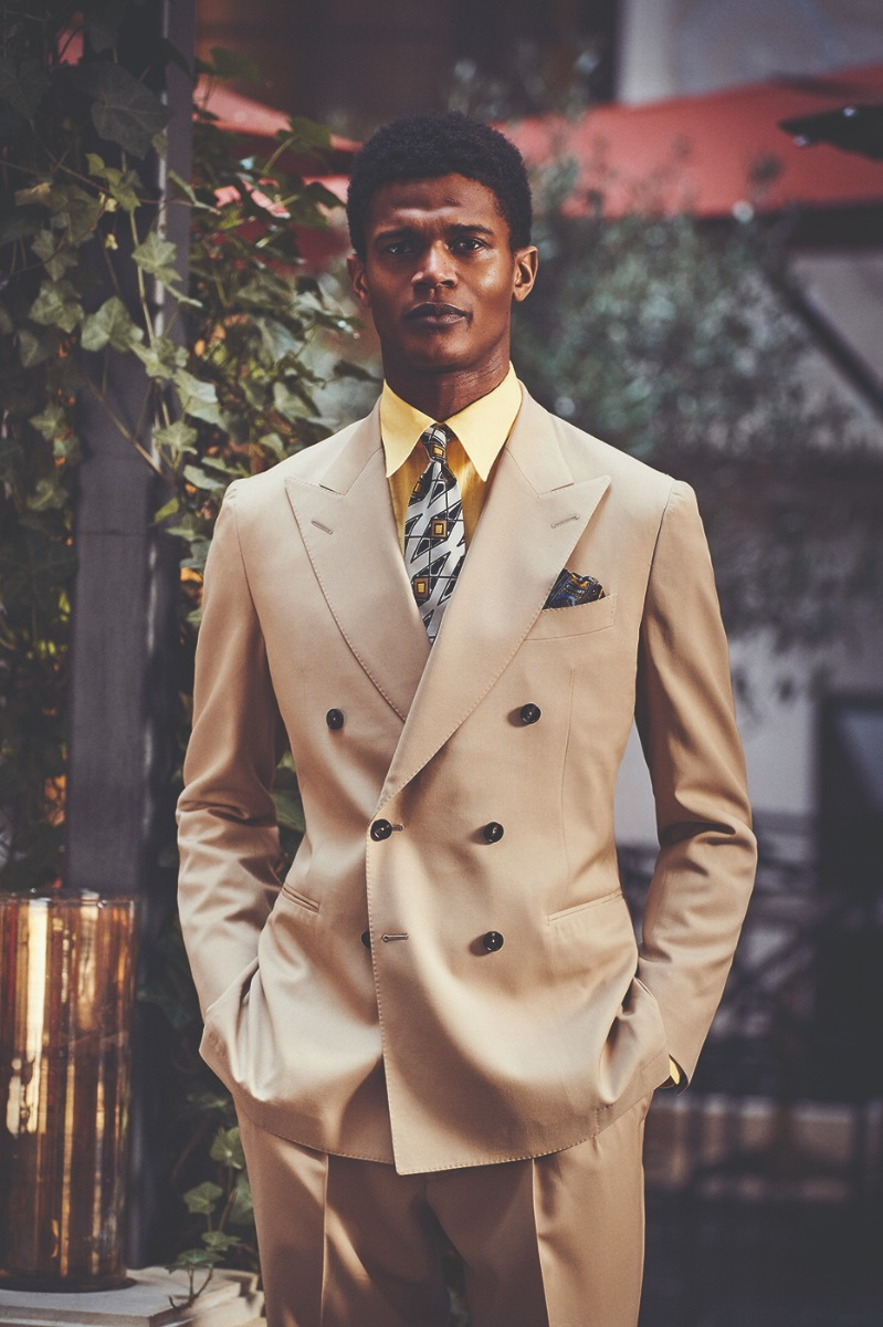 Tan Wool Gabardine Double-Breasted Jacket