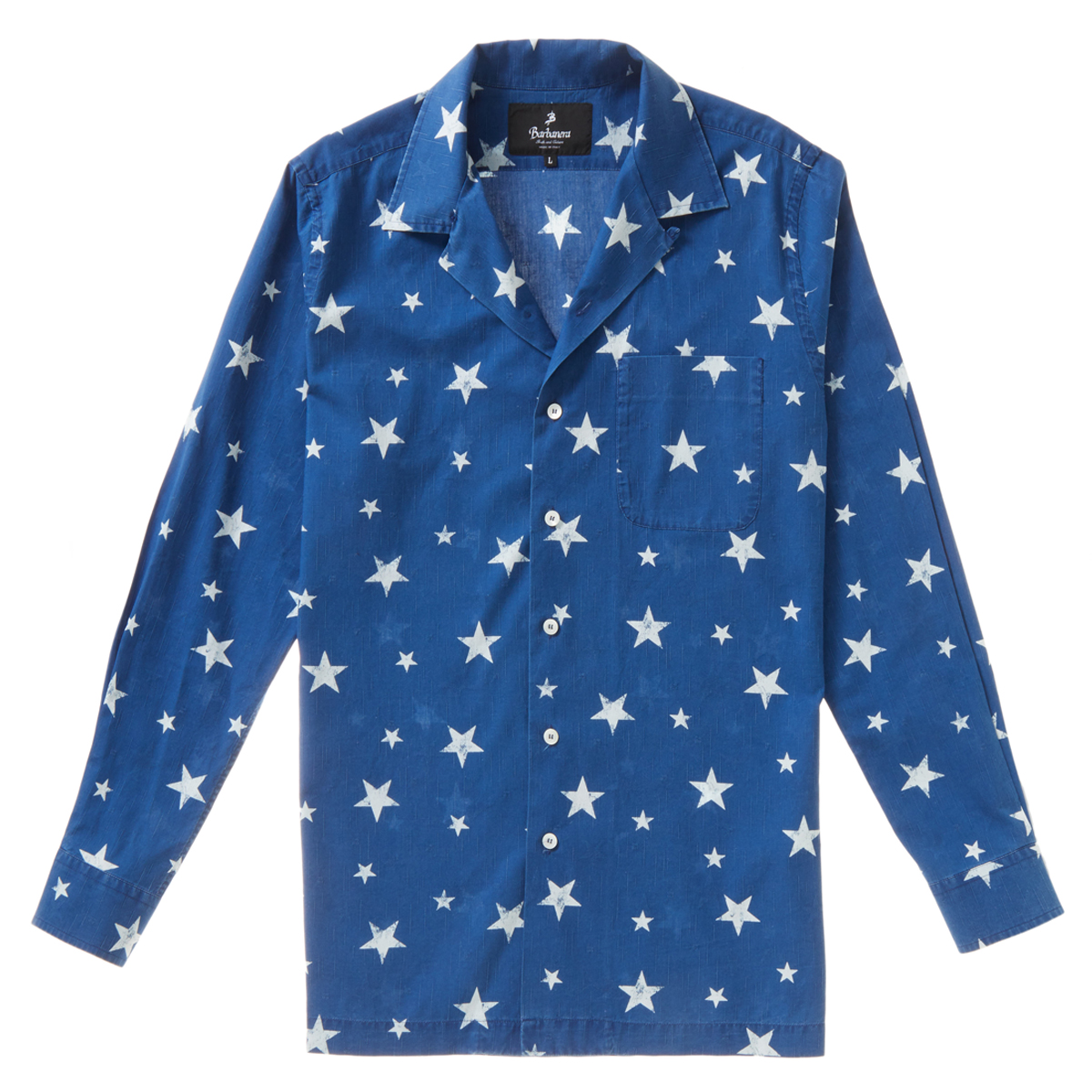 Blue Japanese Indigo Cotton Star Pattern Burt Long-Sleeved Shirt
