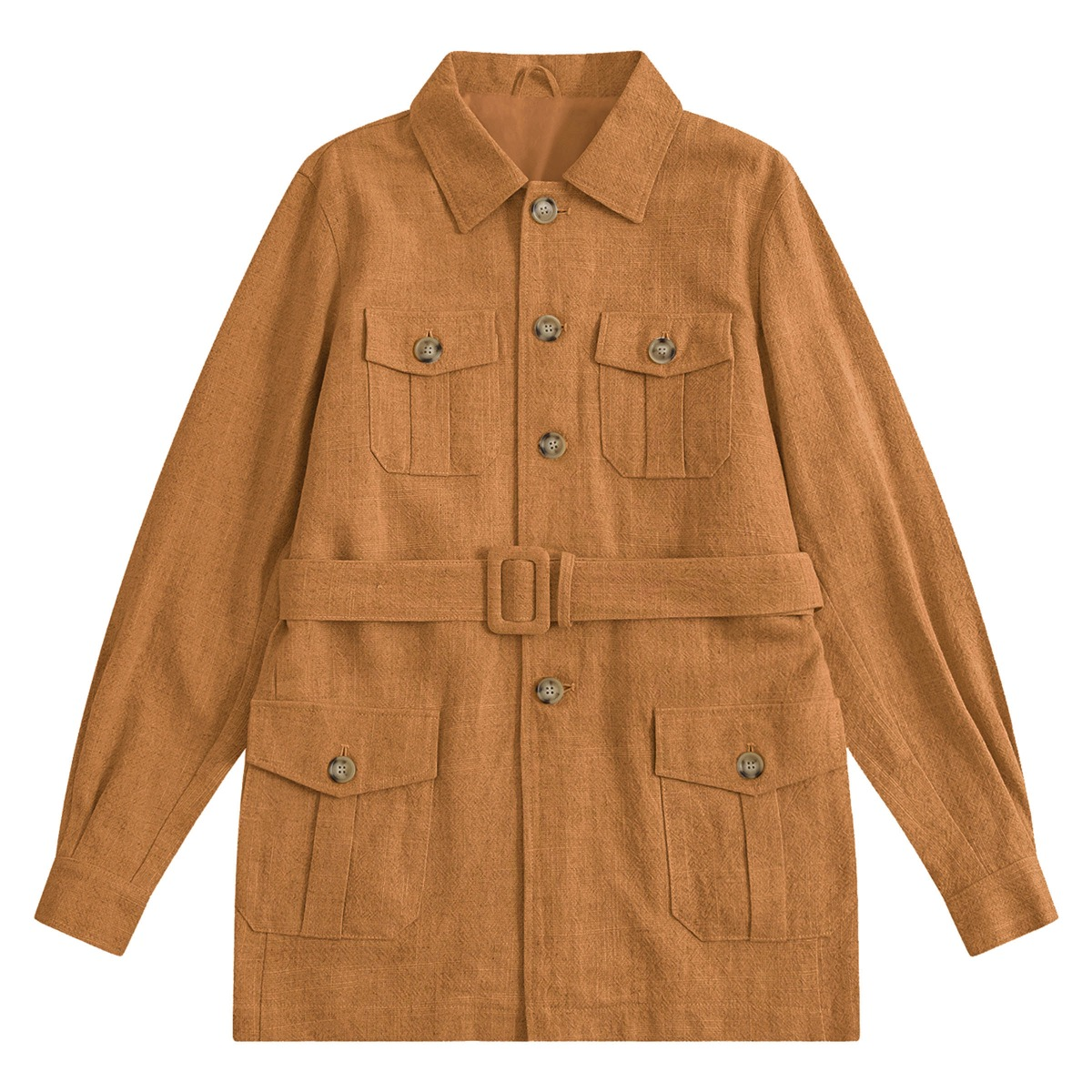Mustard Indian Textured Linen Hemingway Safari Jacket