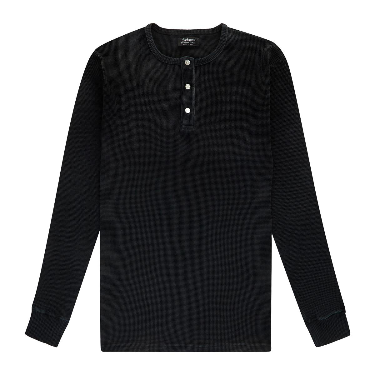 Black Cotton Waffle Knit Tuco Henley Shirt