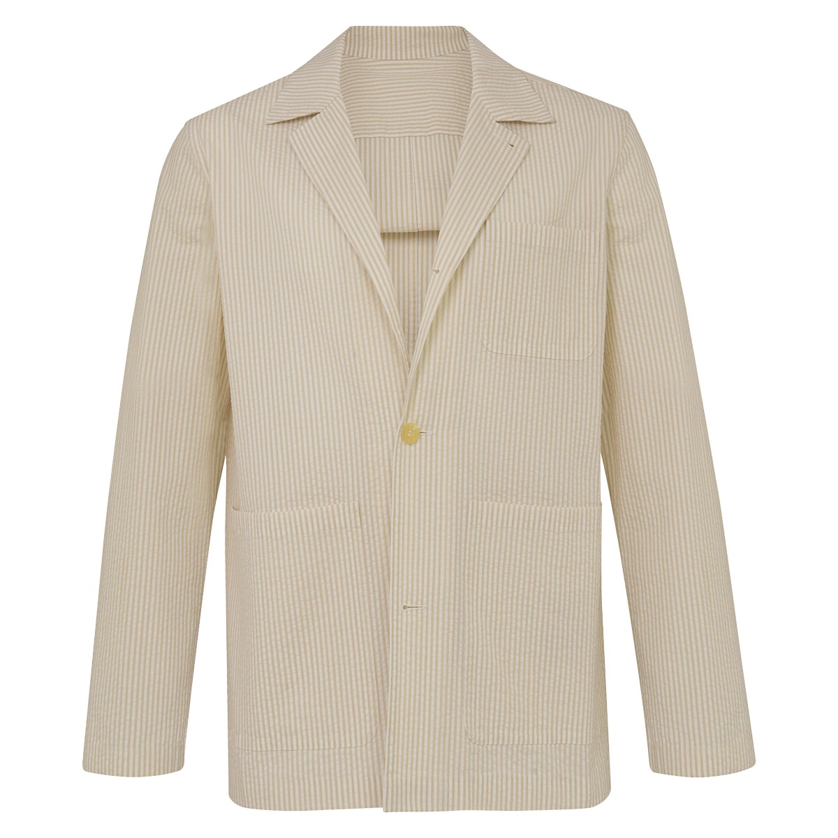 White & Tan Cotton Seersucker Lazyman Jacket
