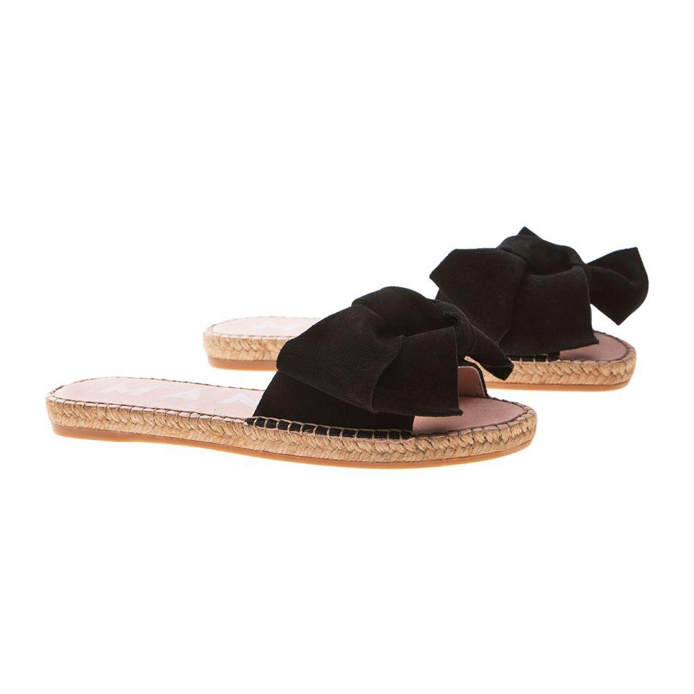 Black Suede Flat Hamptons Sandals